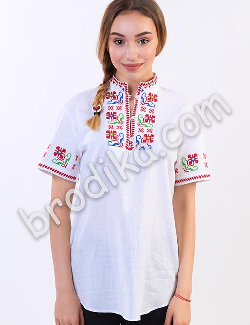 """Дамска тракийска риза с къс ръкав """"Зора"""" 1"""
