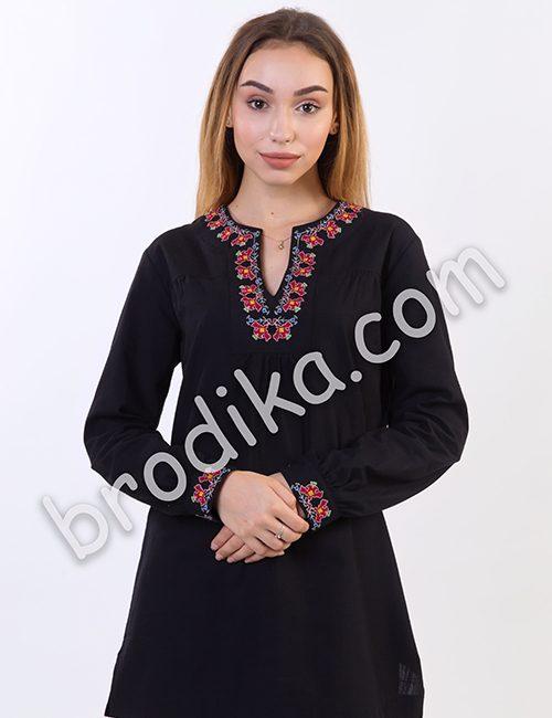 """Дамска черна риза с платка """"Белослава"""" 4"""