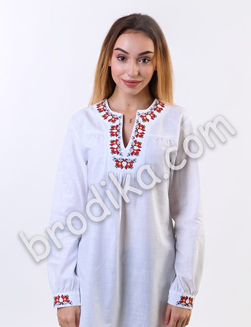 """Дамска бяла риза с платка """"Белослава"""" 1"""
