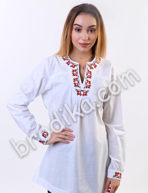 """Дамска бяла риза с платка """"Белослава"""" 6"""