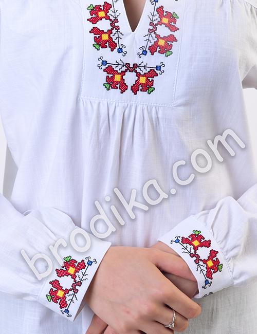 """Дамска бяла риза с платка """"Белослава"""" 5"""
