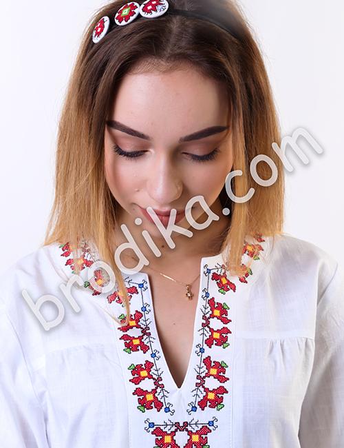 """Дамска бяла риза с платка """"Белослава"""" 4"""