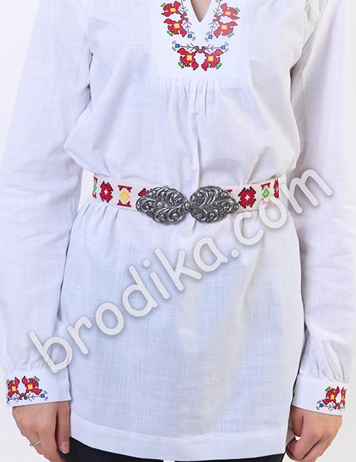 """Дамска бяла риза с платка """"Белослава"""" 3"""