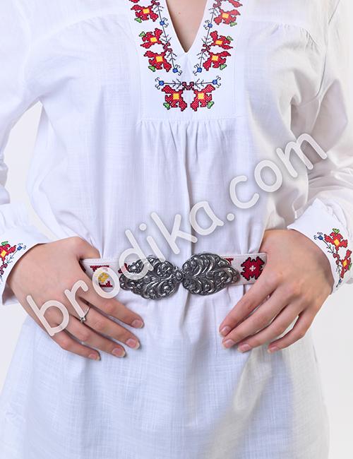 """Дамска бяла риза с платка """"Белослава"""" 2"""