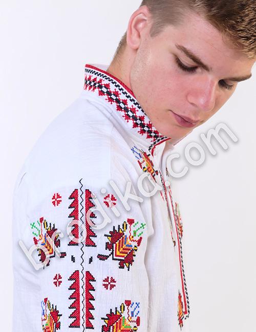"""Мъжка тракийска риза с къс ръкав """"Радослав"""" 3"""
