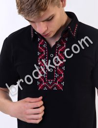 Тениска с шефица и яка (черна)