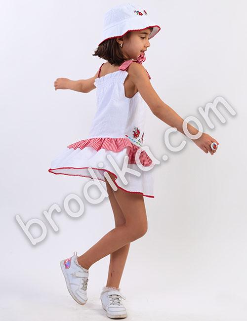 """Детска рокля с карирани презрамки и волани """"Калина"""" 2"""