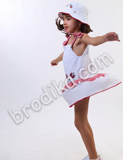 """Детска рокля с карирани презрамки и волани """"Калина"""" 1"""