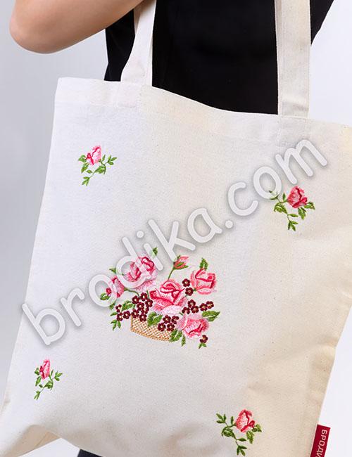 """Текстилна чанта """"Кошница с Рози"""" 1"""