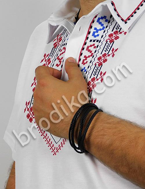 """Мъжка тениска с яка и шопски шевици """"Йован"""" 3"""