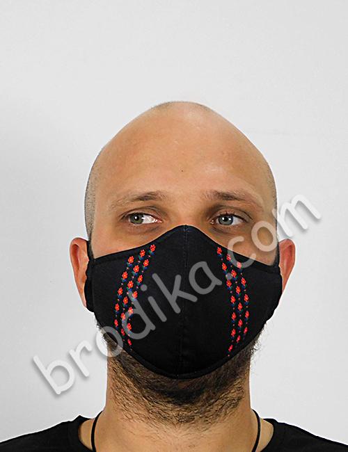 """Трислойна предпазна маска за лице """"Три китки червени лалета"""" 3"""