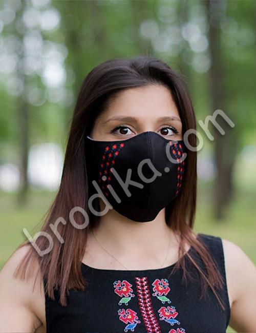 """Трислойна предпазна маска за лице """"Три китки червени лалета"""" 10"""