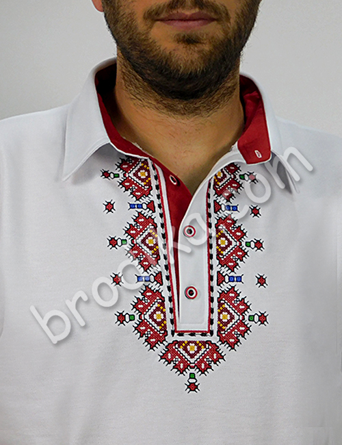 """Мъжка тениска с яка и пиринска шевица """"Вихрен"""" 3"""