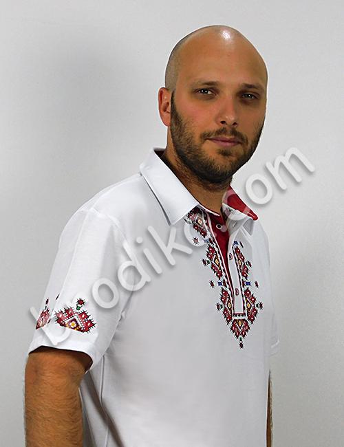 """Мъжка тениска с яка и пиринска шевица """"Вихрен"""" 1"""